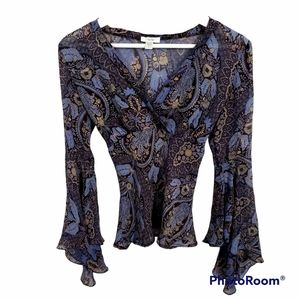 Cache blue, tan and brown silk floral sheer blouse